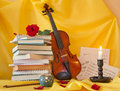 Violin books and notes still life Stock Photography