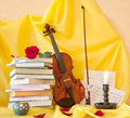 Violin books and notes still life Royalty Free Stock Photography