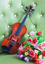 Violin  and bouquet flowers Stock Photography