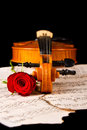 Violin on carry case red with sheet music with red roses Royalty Free Stock Photography