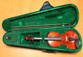 Violin in the case of green Royalty Free Stock Image