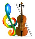 Violin or cello with treble clef. Vector illustration on white background Royalty Free Stock Photo