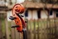 Violin closeup on wood Royalty Free Stock Photo