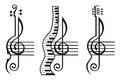 Violin, guitar, piano and treble clef Royalty Free Stock Photo
