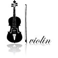 Violin icon showing a combined with the word written in cursive mode Stock Photography