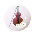 Violin instrument background Vector illustration. Chamomile flowers as decor