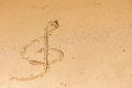 Violin key treble clef drawn in sand outdoor Royalty Free Stock Photos