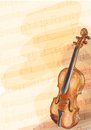 Violin on music background with handmade notes. Stock Photos
