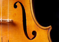 Violin music closeup of f hole isolated on black Royalty Free Stock Images