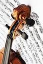 Violin with music sheet. Violin notes. Royalty Free Stock Photo
