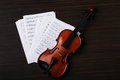 Violin on an notes background Royalty Free Stock Photo