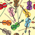 Violin pattern violins colorful seamless hand drawn doodles over a yellow retro background Stock Image