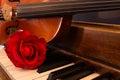 Violin, Piano, and Rose Royalty Free Stock Photo