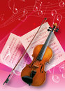 Violin picture of an instruments and music note Royalty Free Stock Photo