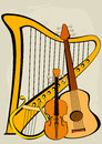 Violin, quitar, lyre, harp and notes Stock Photos