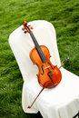 Violin set chair outdoors wedding Royalty Free Stock Photography