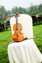 Violin set chair outdoors wedding Royalty Free Stock Photos