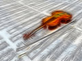 Violin on sheet music backdrop Royalty Free Stock Image