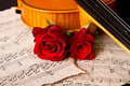 Violin sheet music and rose black composition still life Royalty Free Stock Photography