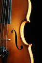 Violin strings orchestral musical instrument closeup isolated on black Royalty Free Stock Photo