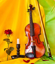 Violin viola with red roses on notes sheet Royalty Free Stock Photos
