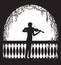 Violinist in the arch balcony with curl vines and plant, romantic melody character, silhouette, shadows,