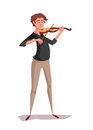 Violinist cartoon man playing music.