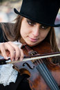 Violinist, close portrait Stock Photos