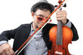 Violinist closeup thai playing his violin over white background Royalty Free Stock Photo
