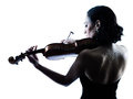 Violinist woman slihouette isolated Royalty Free Stock Photo