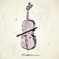 Violoncello hand drawn of classical stringed music instruments Royalty Free Stock Photos