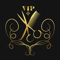 Vip beauty salon and hairdresser, golden silhouette