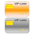 Vip cards golden and grey card with chip in white background Stock Image