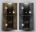VIP elegant invitation cards with gold and silver design elements.
