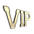 Vip golden emblem symbol isolated as very important person on white Royalty Free Stock Photo