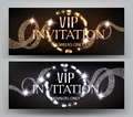 VIP Invitation banners with curly ribbons and shiny light garland frame.