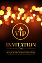 VIP invitation card with gold and bokeh glowing background. Premium luxury elegant design
