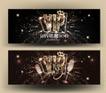 VIP invitation card with gold letters, frame, glasses of champagne and crown. Royalty Free Stock Photo