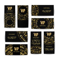 VIP Invitation Card Vector Set. Party Premium Blank Poster Flyer. Black Golden Design Template. Decorative Vector Background. Eleg Royalty Free Stock Photo