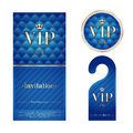 Vip invitation card warning hanger and badge zone members premium round label blue golden design template set quilted dexture Royalty Free Stock Photography