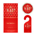 Vip invitation card warning hanger and badge zone members premium round label red golden design template set quilted dexture Royalty Free Stock Photo