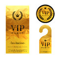 Vip party invitation card warning hanger and premium round label badge golden faceted mosaic design template set laurel wreath Royalty Free Stock Images