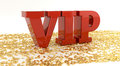 Vip red text on gold stars high quality d render very important person Stock Images