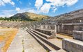 Vip seats on antique stadium in ancient messina peloponnes greece Royalty Free Stock Images