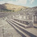 Vip seats on antique stadium in ancient messina peloponnes greece Stock Images
