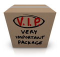 Vip very important package cardboard box shipment a with the words written on it to represent the urgency and expedited express Stock Photo