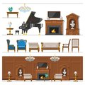 VIP vintage interior furniture rich wealthy house room with sofa set brick wall background vector illustration. Royalty Free Stock Photo