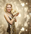Vip Woman Present Gift Box, Retro Lady Sparkling Gold Dress Royalty Free Stock Photo