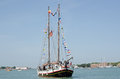 Vips on sailing ship venice italy may local board an elegant ahead of the annual ceremony marking s marriage with the sea Royalty Free Stock Image