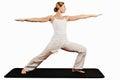 Virabhadrasan ii warrior pose hatha yoga wide arms spread Stock Image